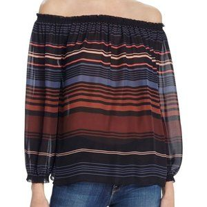 NWT Joie Bamboo Off-The-Shoulder Silk Blouse sz M